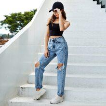 Jeans mit hoher Taille, Riss und geradem Beinschnitt