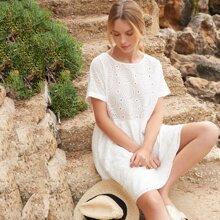 Vestidos Bordado de ojal Liso Blanco Bohemio