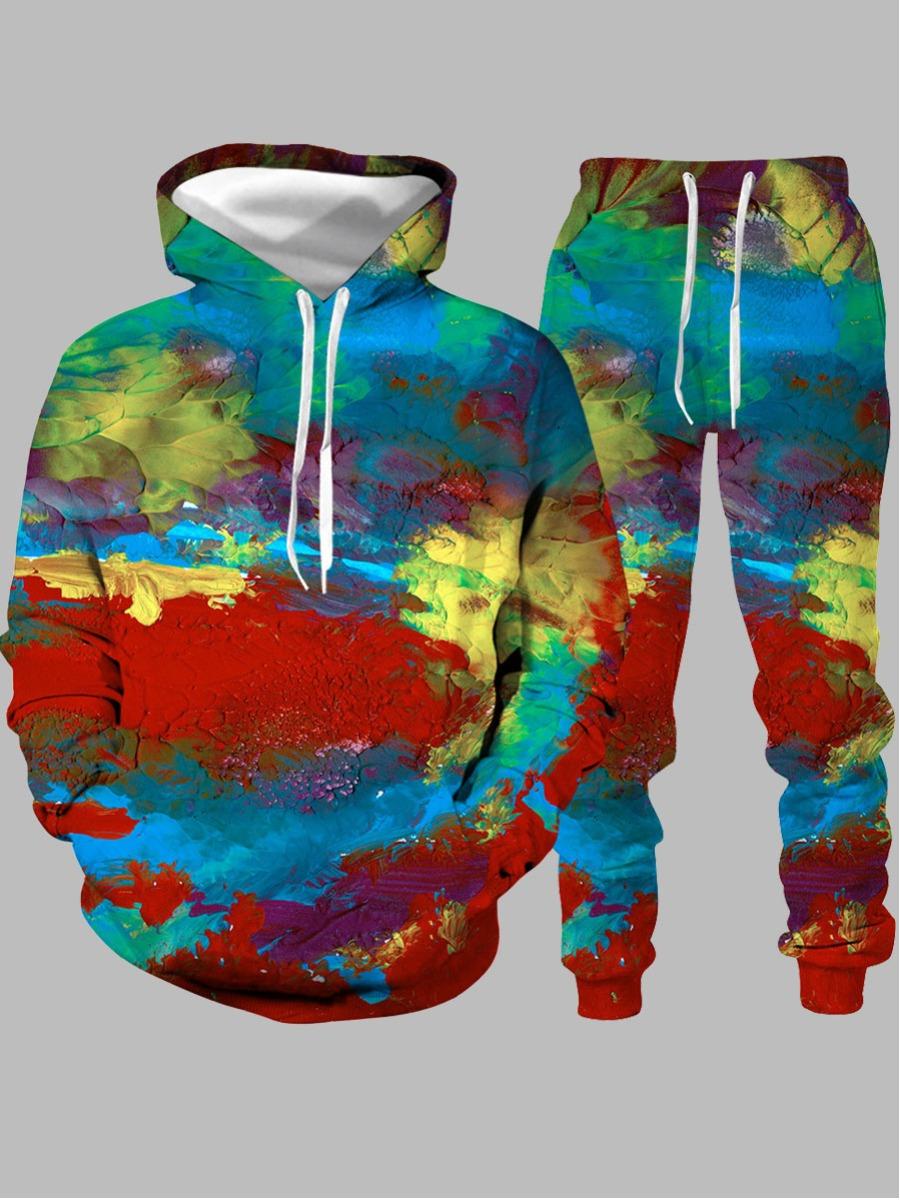 LW Lovely Casual Hooded Collar Tie-dye Multicolor Men Two-piece Pants Set