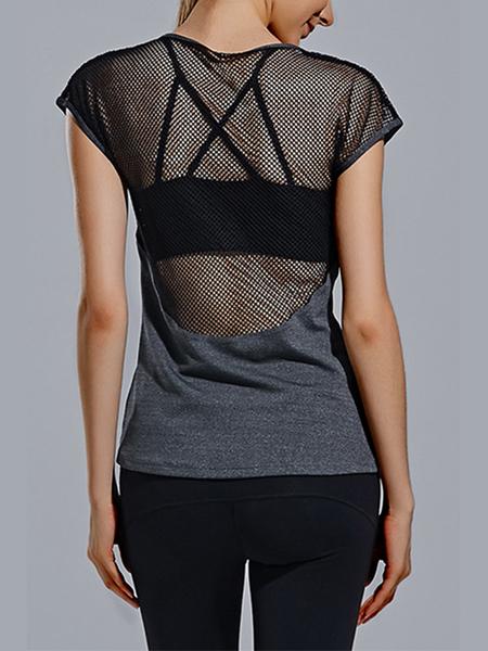 Yoins Stitching Hollow Design Yoga T-shirt in Grey