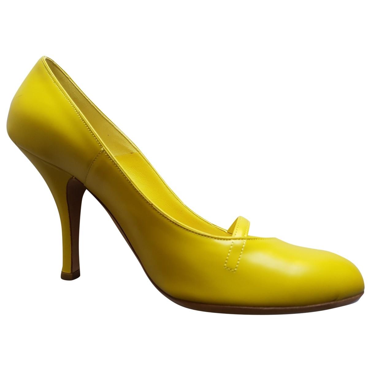 Marc Jacobs - Escarpins   pour femme en cuir - jaune