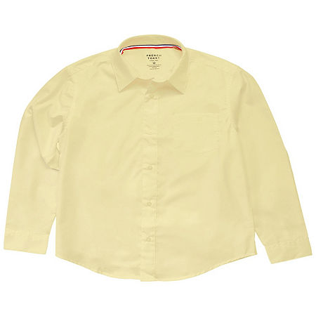 French Toast Little & Big Boys Point Collar Long Sleeve Wrinkle Resistant Dress Shirt, 4 , Yellow