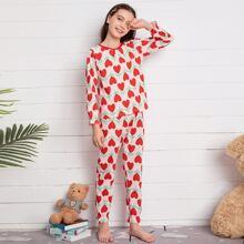 Girls Allover Heart Print PJ Set