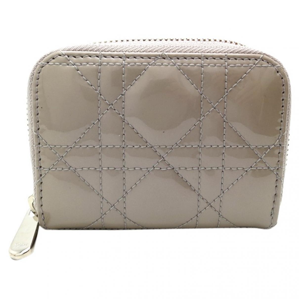 Dior - Portefeuille   pour femme en cuir verni - gris