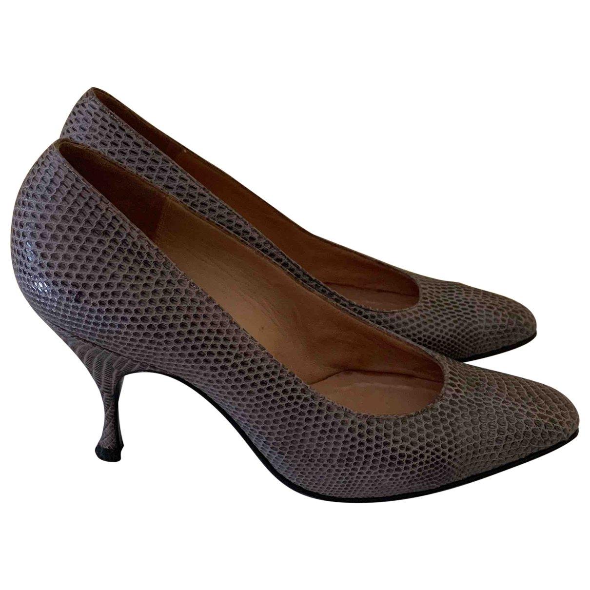 Non Signé / Unsigned \N Grey Lizard Heels for Women 37 EU