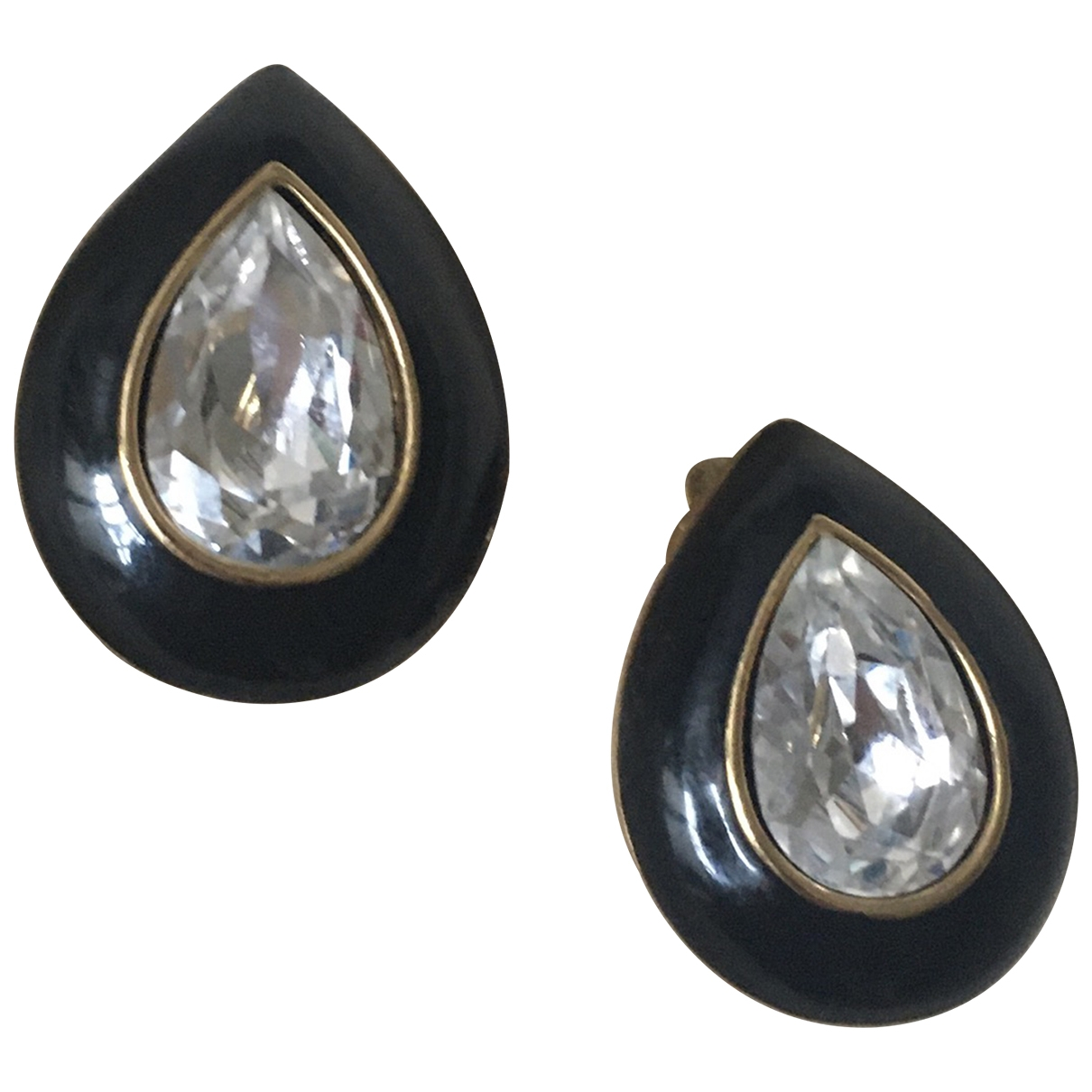 Trifari - Boucles doreilles   pour femme en plaque or - noir