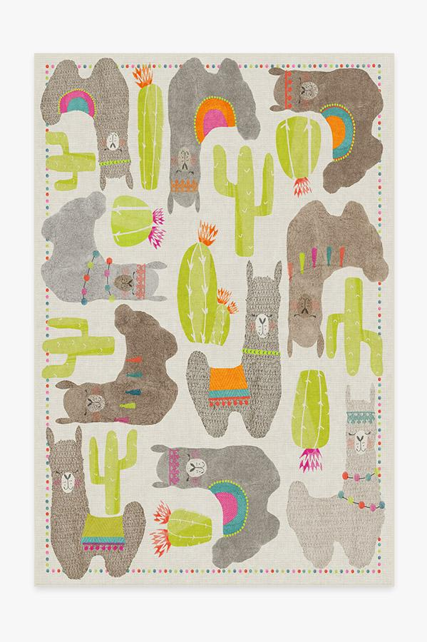 Washable Rug Cover | Llama Fun Natural Rug | Stain-Resistant | Ruggable | 6'x9'