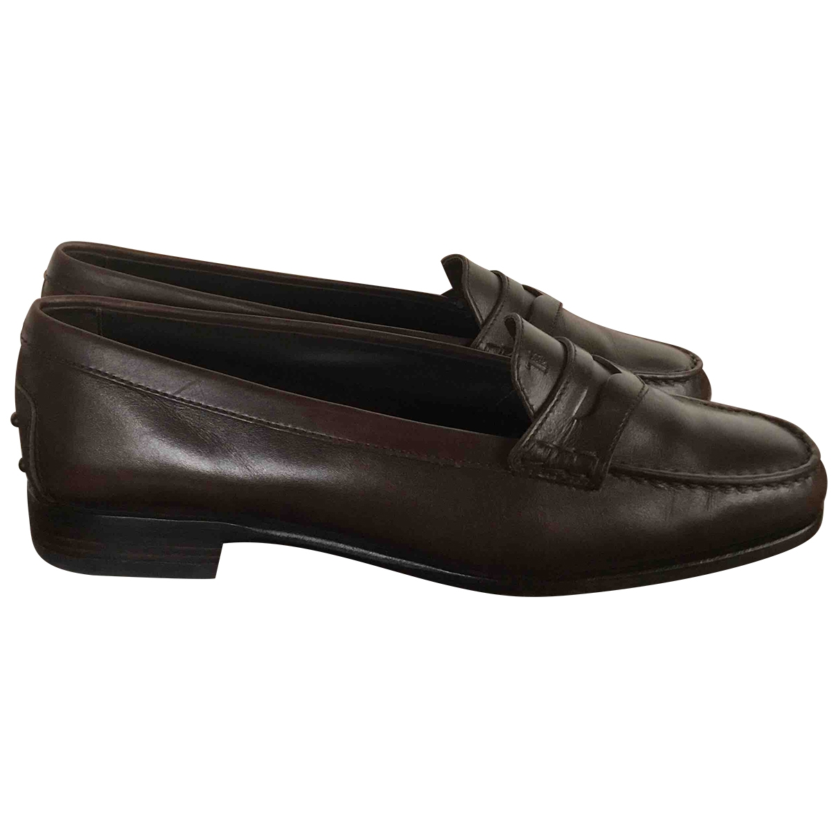 Tod's Gommino Brown Leather Flats for Women 38.5 EU