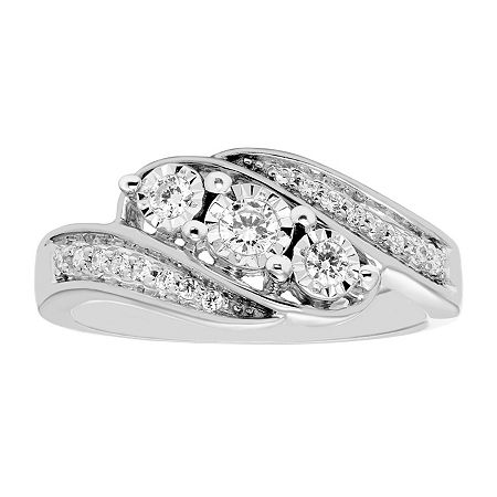 Love Lives Forever Womens 1/4 CT. T.W. Genuine White Diamond 10K White Gold 3-Stone Engagement Ring, 7 , No Color Family