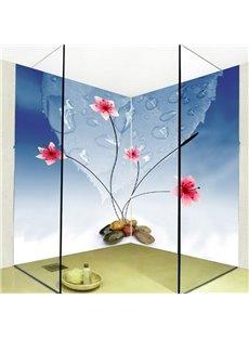 Simple Style Flowers and Water Drops Pattern Waterproof 3D Bathroom Wall Murals