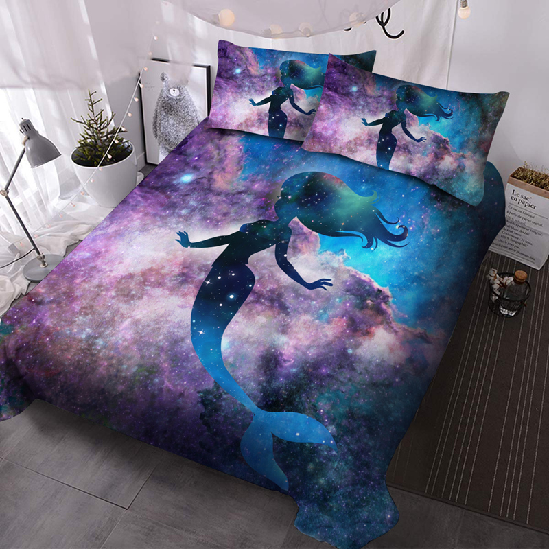 Mermaid and Purple Galaxy 3Pcs Microfiber Wrinkle/Fade Resistant Comforter Set 3D Comforter Insert with 2 Pillow Covers