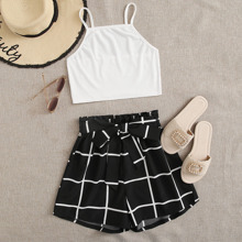 Solid Ribbed Cami Top & Plaid Belted Paper Bag Waist Shorts