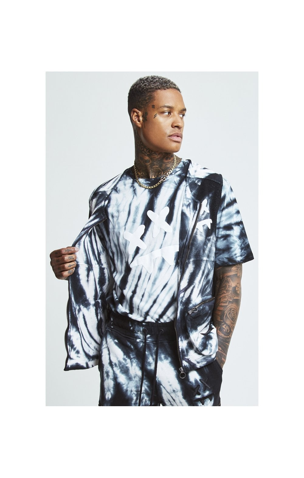 SikSilk X Steve Aoki Utility Vest - Black & White Ink Tie Dye MEN SIZES TOP: Extra Large