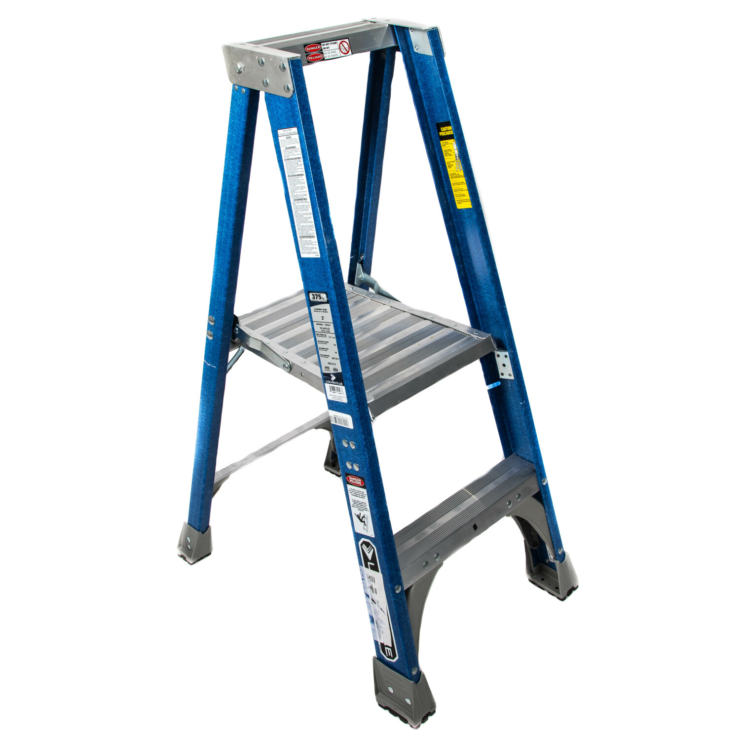 Louisville 2 Step Platform Ladder with 375 lb. Load Capacity Meets ANSI and OSHA Standards - Blue