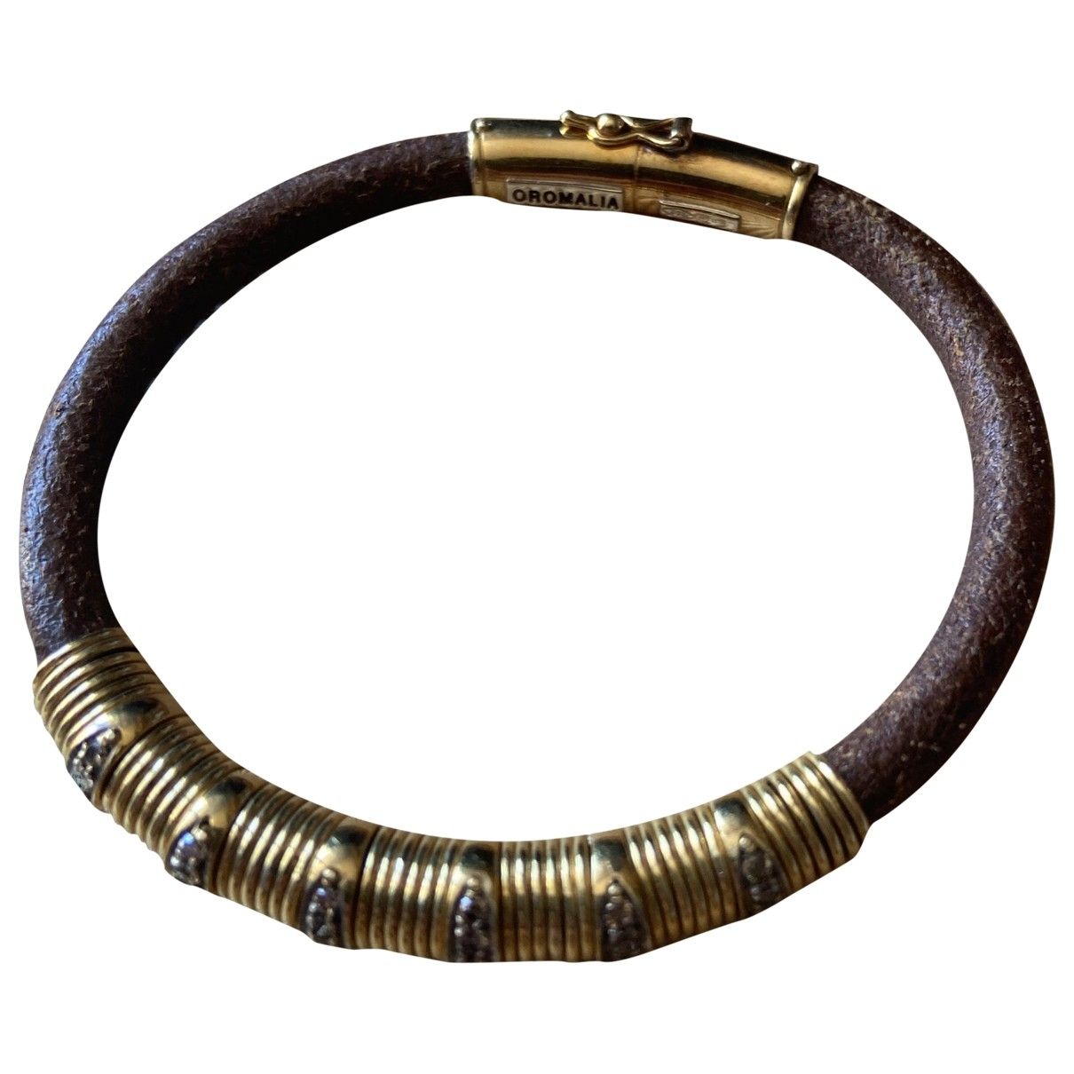 Non Signé / Unsigned \N Gold Leather bracelet for Women \N