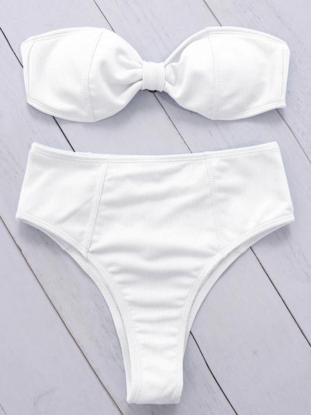 Yoins White Twist Design High Waist Bandeau Bikini