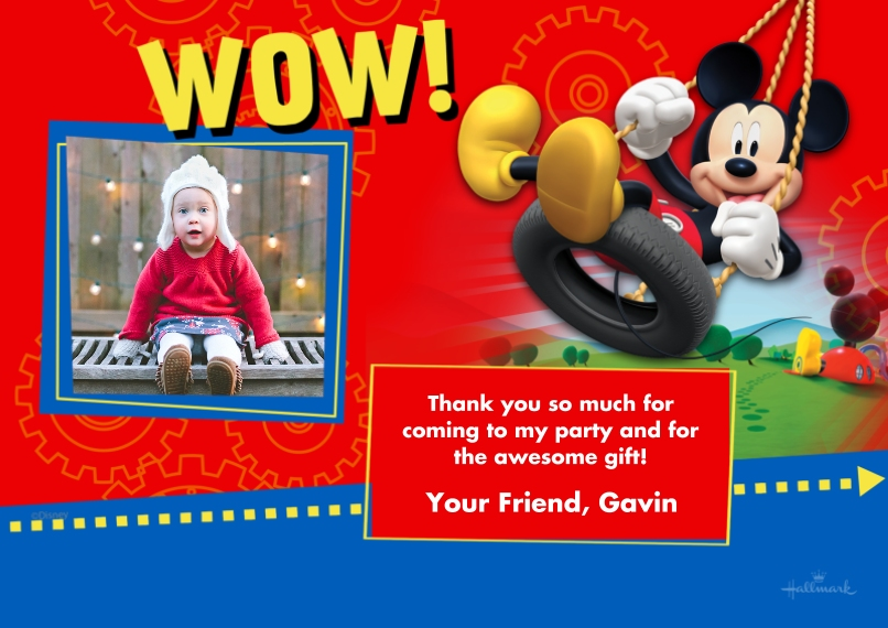 Kids Thank You Cards 5x7 Cards, Premium Cardstock 120lb with Elegant Corners, Card & Stationery -Mickey Mouse Clubhouse Thanks