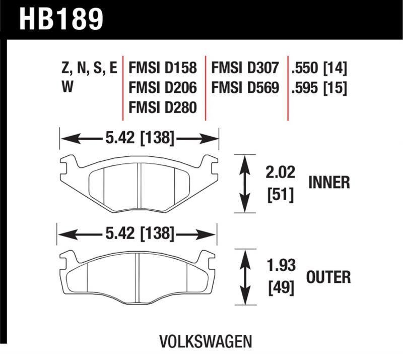Hawk Performance HB189W.595 Disc Brake Pad Volkswagen Front