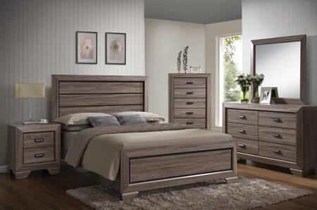 Lyndon 26020Q5PC Bedroom Set with Queen Size Bed + Dresser + Mirror + Chest + Nightstand in Weathered Grey Grain