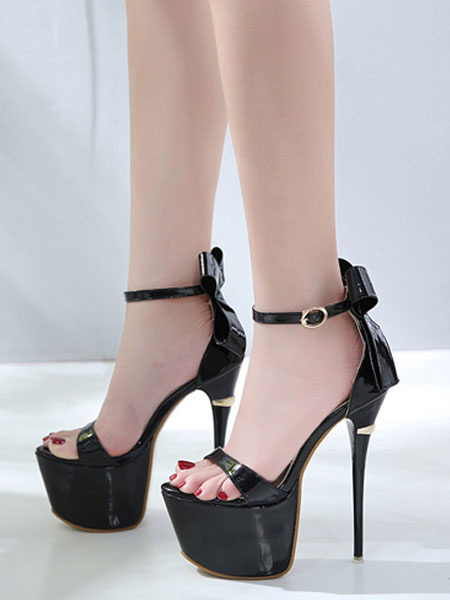 Milanoo High Heel Sandals Black Platform Open Toe Bow Ankle Strap Sandal Shoes Women Sexy Shoes
