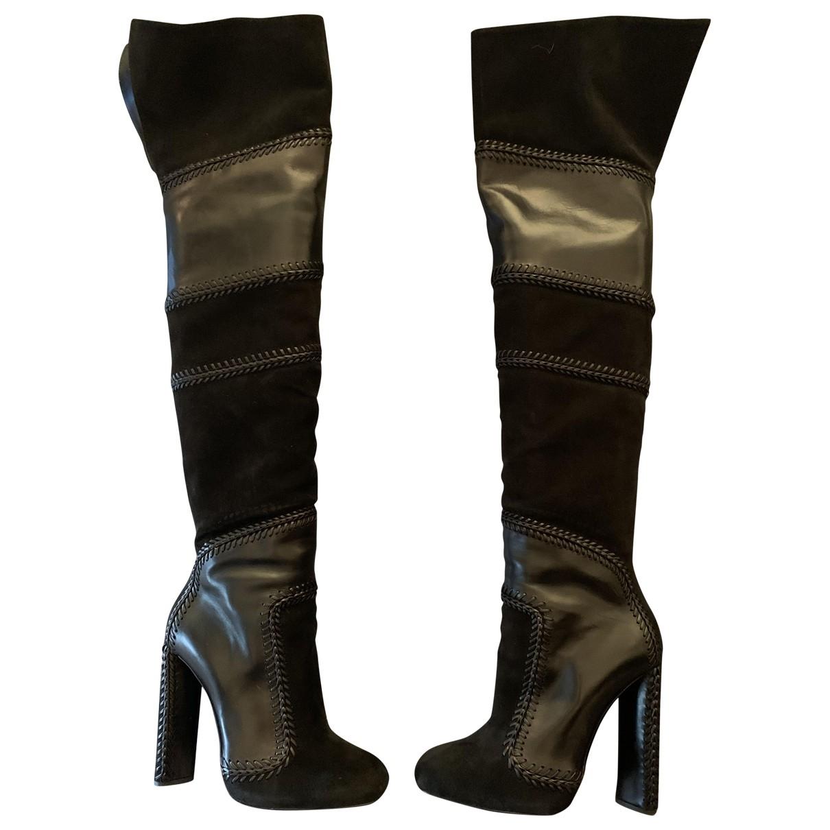 Tom Ford - Bottes   pour femme en suede - noir