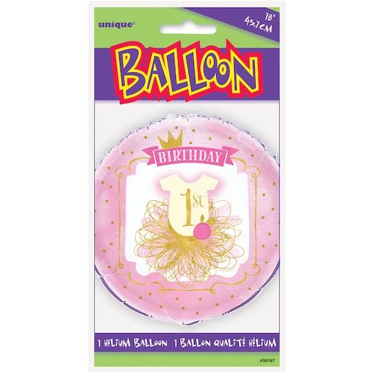 Foil Pink And Gold Girls 1st Birthday Balloon, 18