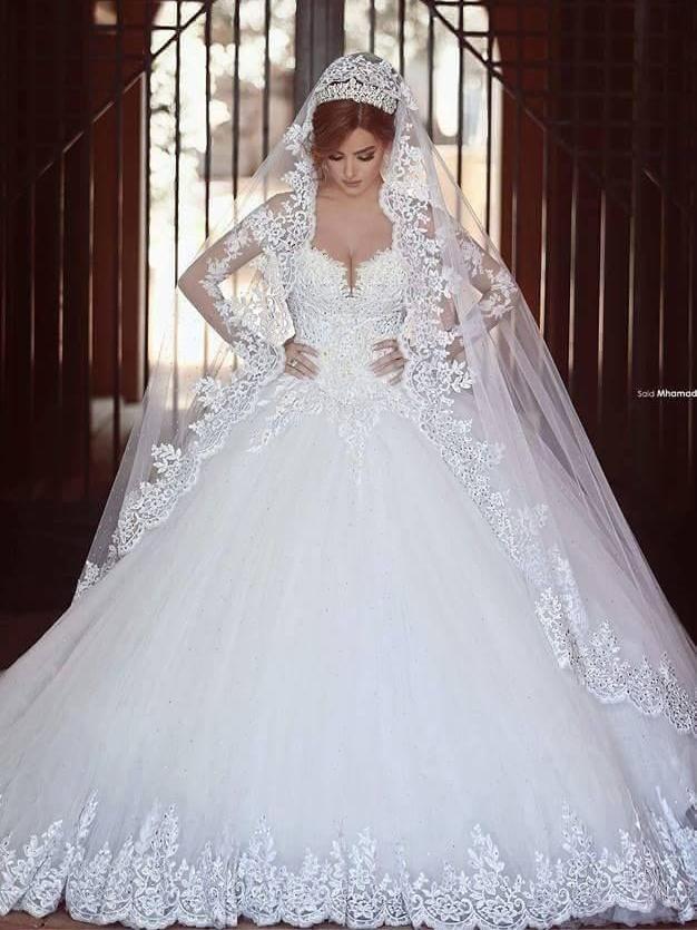 Ericdress Long Sleeve Appliques Beading Ball Gown Wedding Dress