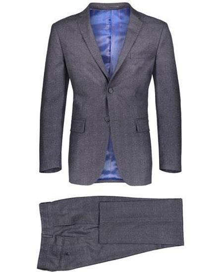 Mens  2 Button Suit Window Pane ~ Plaid Gray Suit ~ Blazer & Pants