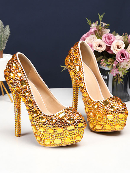 Milanoo Luxury Prom Heels Crystal Embellished High Heel Party Bridal Shoes