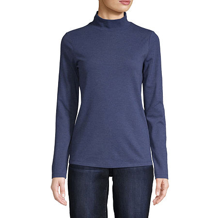 St. John's Bay-Womens Mock Neck Long Sleeve T-Shirt, X-large , Blue