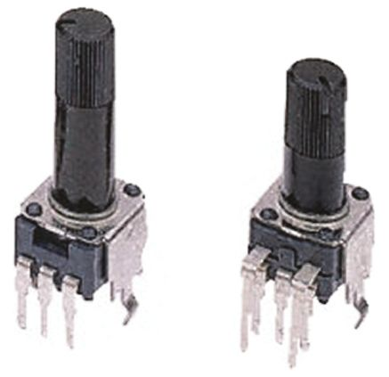 Alps Alpine Rotary Carbon Film Potentiometer with an 6 mm Dia. Shaft - 10kΩ, ±20%, 0.05W Power Rating, Logarithmic,