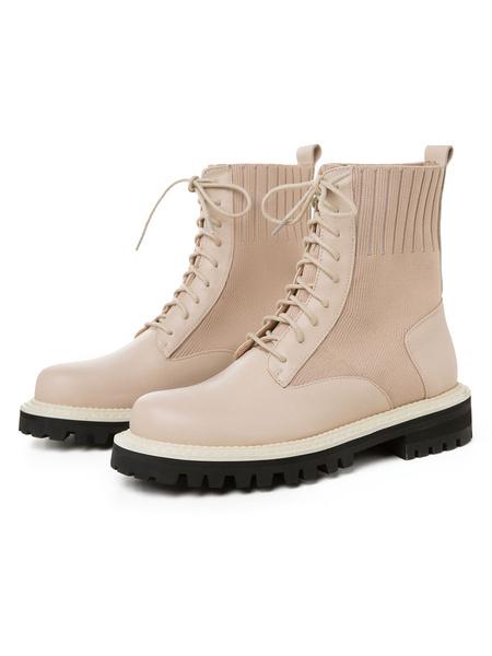 Milanoo Botas de combate para mujer Botas de cuero Zapatos planos con cordones de piel de vaca
