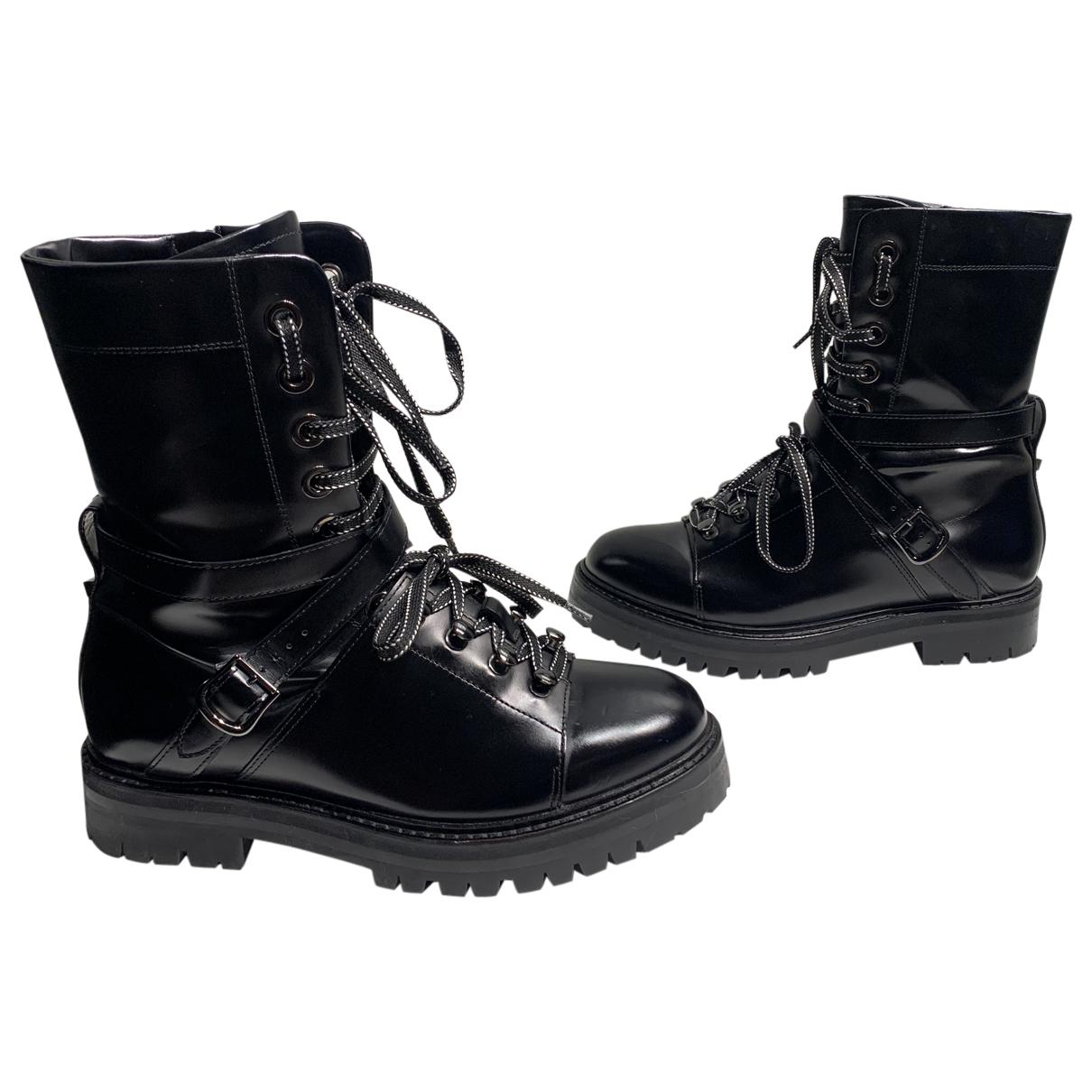 Valentino Garavani N Black Leather Boots for Women 38 EU