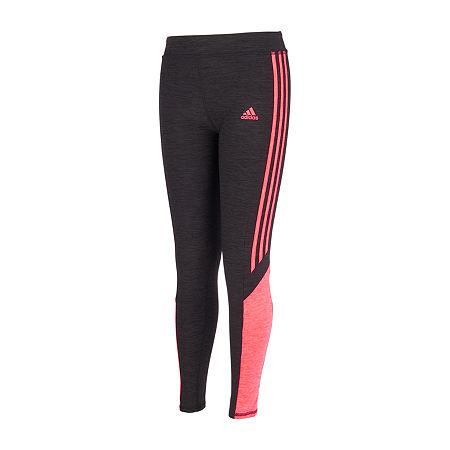 adidas Big Girls Mid Rise Legging, X-large (16) , Pink