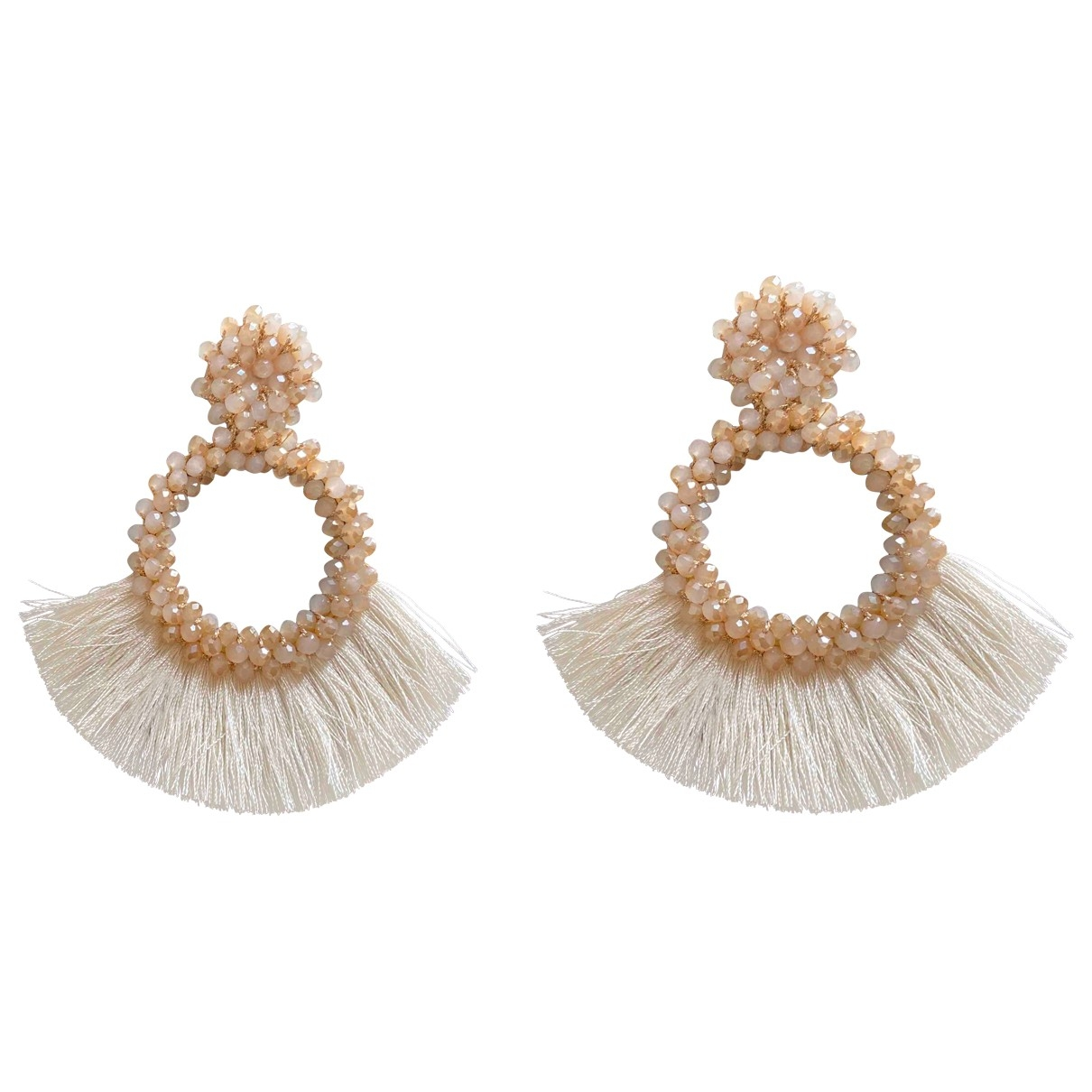 Non Signé / Unsigned Motifs Ethniques Beige Pearls Earrings for Women \N