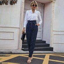 Hose mit Knoten, Papiertasche Taille und Gitter Muster
