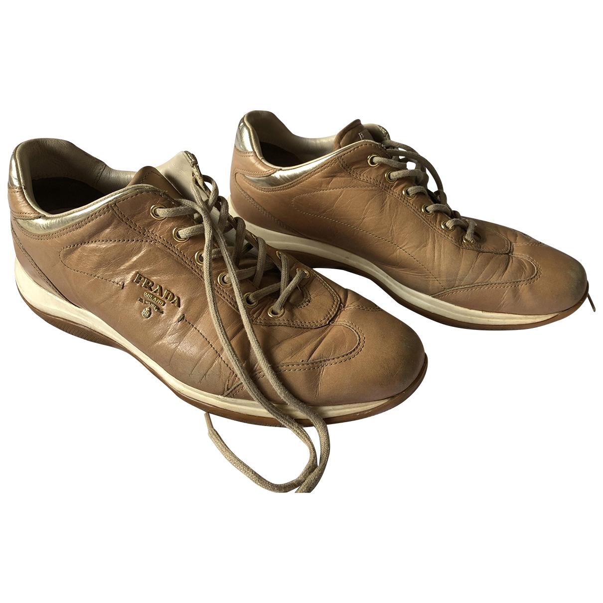 Prada \N Camel Leather Trainers for Women 40.5 EU