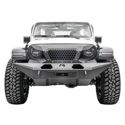 Fab Fours Full Width Grumper Front Bumper (Black) - GR4610-B