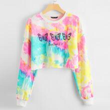 Crop Pullover mit sehr tief angesetzter Schulterpartie, Buchstaben, Schmetterling Muster und Batik