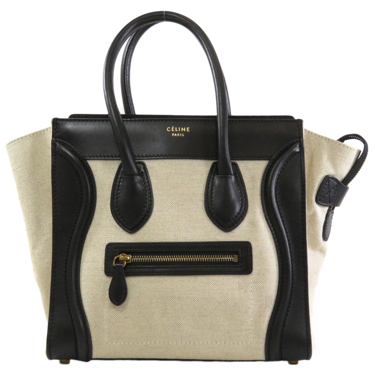 Celine Luggage Handtasche in  Schwarz Leinen