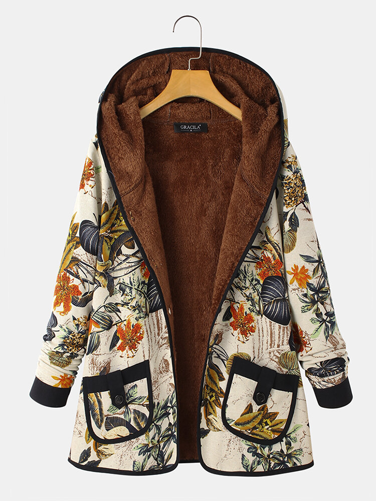 Vintage Floral Print Hooded Coat with Pockets For Women