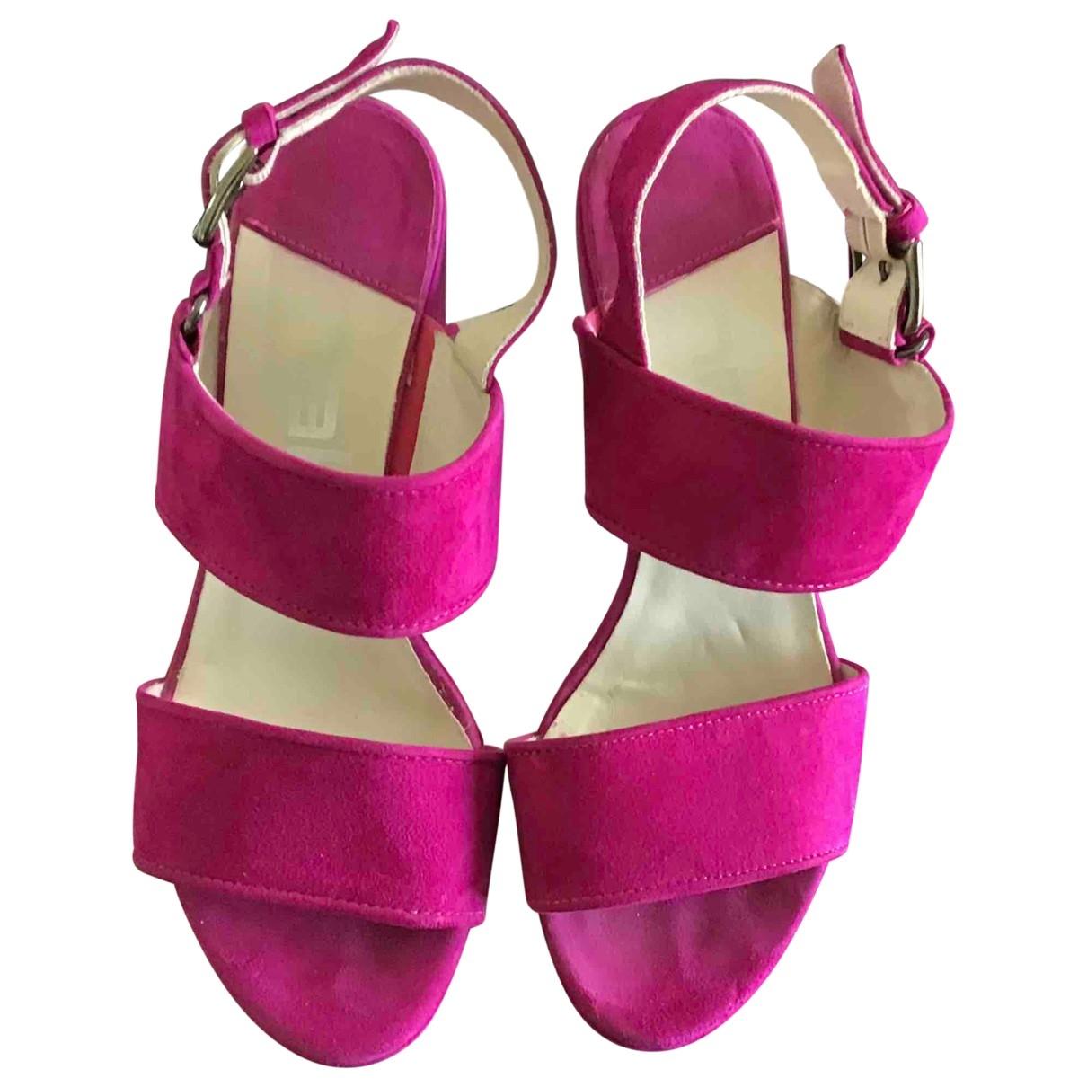 - Sandales   pour femme en suede - rose