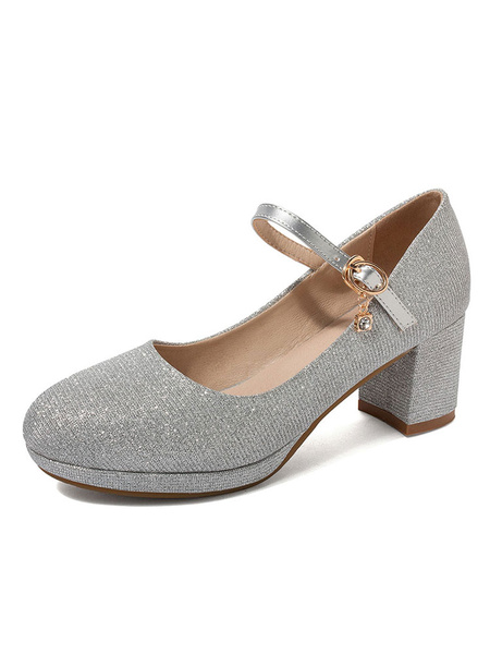 Milanoo Mary Jane Shoes Silver Glitter Round Toe Chunky Heel Pumps For Women