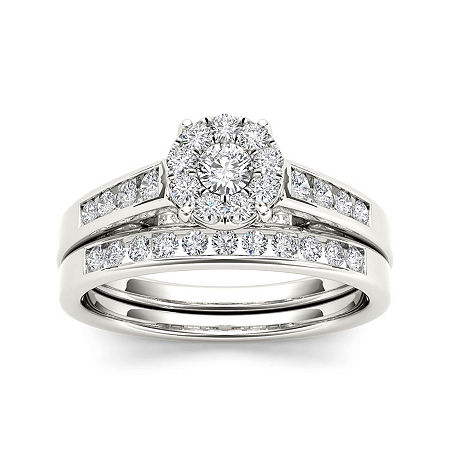 1/2 CT. T.W. Diamond 10K White Gold Bridal Ring Set, 6 , No Color Family