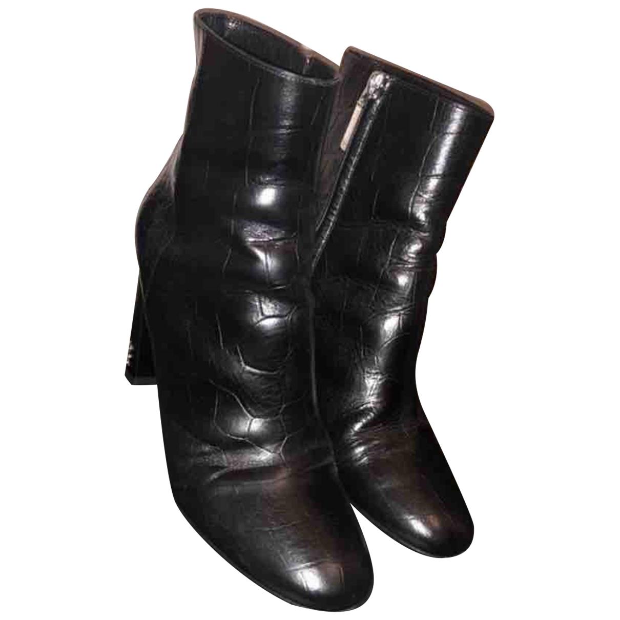 Saint Laurent - Boots Lou pour femme en cuir - noir