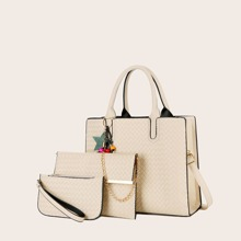 3pcs Tassel Charm Braided Tote Bag Set