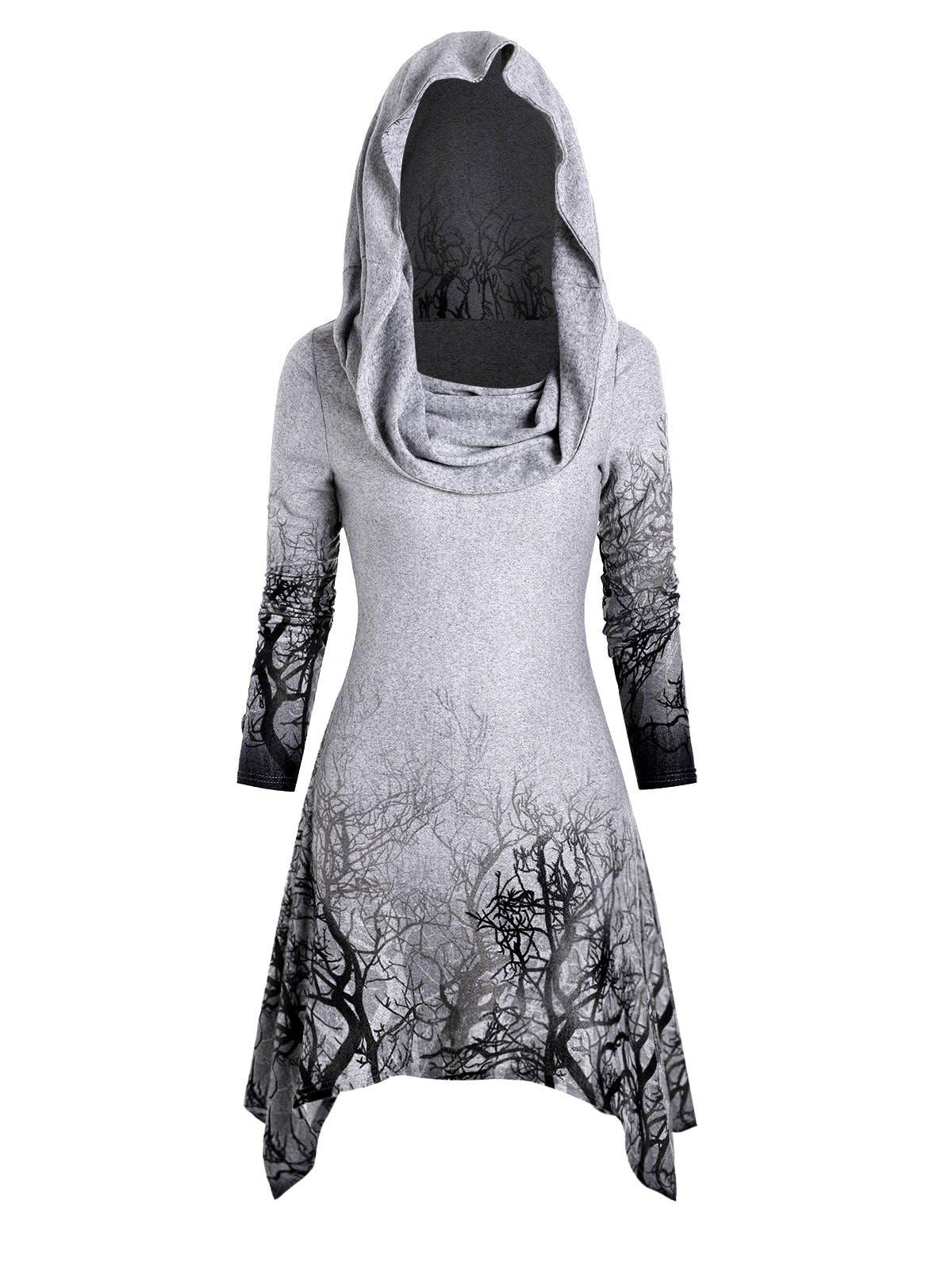 Halloween Tree Print Convertible Collar Longline Knitwear