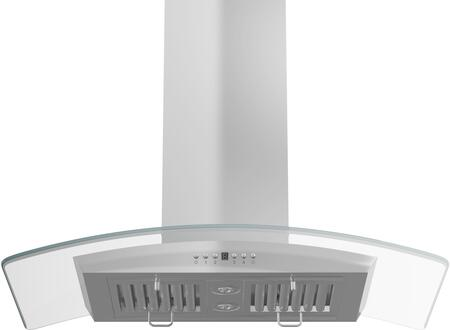 ZLGL5i-30 30 Island Mounted Range Hood with Glass Canopy  400 CFM Motor  4 Speed Levels  2 Directional Lights and Control Panel with LCD in Brushed