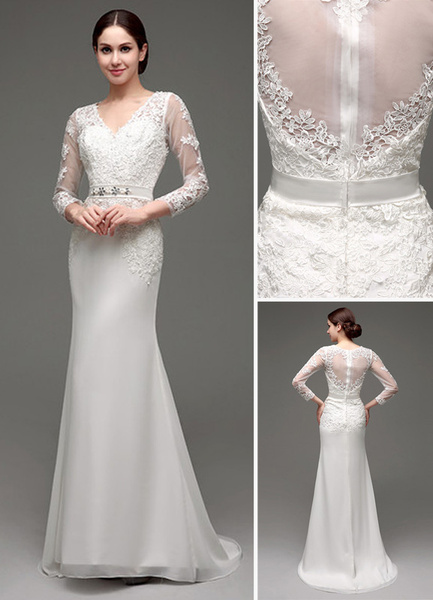 Milanoo Vestido de novia de tul con escote transparente y faja
