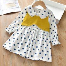 Toddler Girls Rib-Knit Top With Polka Dot Dress